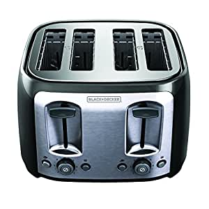 BLACK+DECKER TR1478BD 4-Slice Toaster, Bagel Toaster, Black