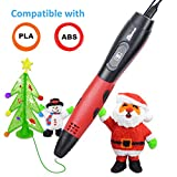 3D Pen for Kids with 7.5M long 1.75MM PLA - 2018 Tipeye Newest RED Smart 3D Gear Printing Pen 3D Doodler Pen Kits with LCD Display PLA Filament Refills for Adults, Doodling, Artist, Girls, DIY etc