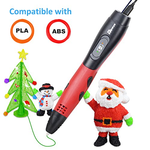 3D Pen for Kids with 7.5M long 1.75MM PLA - 2017 Tipeye Newest RED Version 3D Doodler Pen Kits 3D Printing Pen with LCD Display PLA Filament Refills for Adults, Doodling, Artist, Girls, DIY etc
