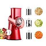 3-Blades Manual Vegetable Slicer Chopper,Efficient and Fast Vegetable Fruit Cutter Cheese Shredder, Speedy Rotary Drum Grater Slicer with Strong-Hold Suction Cup(Red) Great Gift for Valentine's Day