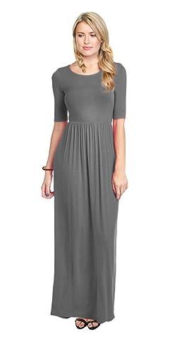Simlu Women's Long Rayon Maxi Dress, Scoop Neck and Empire Elastic Waist