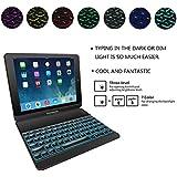 iPad Keyboard Case for iPad 9.7(6th Gen 2018/5th Gen 2017), iPad Pro 9.7, iPad Air 2/Air 1-360° Rotating Wireless Bluetooth Keyboard with Backlights - Slim Tablet Smart Cover (Black)