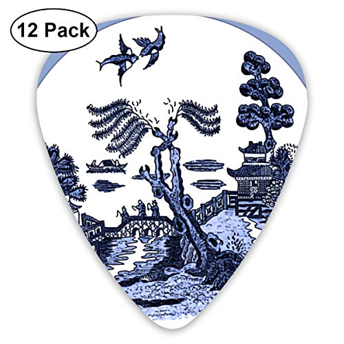 Blue Willow Round Tile Painting Small Medium Large 0.46 0.73 0.96mm Mini Flex Assortment Plastic Top Classic Rock Electric Acoustic Guitar Pick Accessories Variety Pack