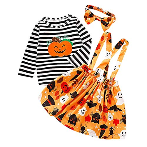 Zombie Girl Scout Halloween Costume (Halloween Outfits for Baby Girls,[3 Pcs] Long Sleeve Stripe Top+Strap Skirt+Headband 6M-4T Pumpkin School Dress-Size 120)