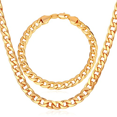 Men Chunky Necklace Bracelet Set 18K Stamp Jewelry Thick 7MM Wide Gold Plated Cuban Curb Chain,20