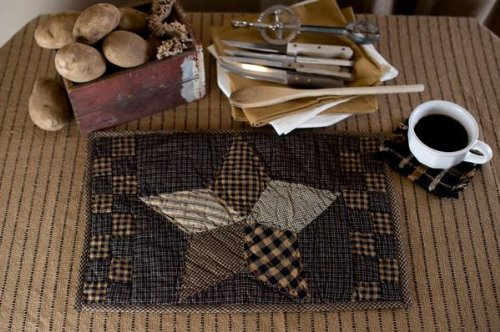 (Farmhouse Star Placemat Quilted Set of 2 12x18