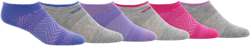 adidas Youth Kids-Girl's Superlite No Show Socks (6 Pair), Real Lilac Purple/ Clear Lilac Purple/ Shock Pink/, Medium, (Shoe Size 13C-4Y) by adidas