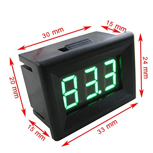 Yeeco 0.36'' -55-125°C Black Shell Green LED Digital Thermometer Temperature Gauge Panel Temp Measure DS18B20 Waterproof Temp Probe for Air/Water/Pond by Yeeco (Image #4)
