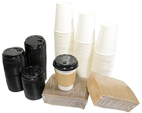 110 Disposable Hot/Cold Paper Cups With Travel Lids And Sleeves 12oz White Coffee Tea Cups
