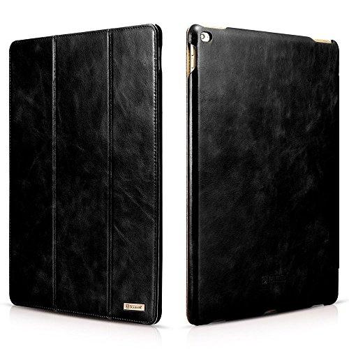 iPad Pro 12.9 2015 Case, Icarercase Genuine Leather Case Folio Flip Smart Cover Auto Wake/Sleep Function [Magnetic Closure] Kickstand for Apple iPad Pro 12.9 Inch (Black)