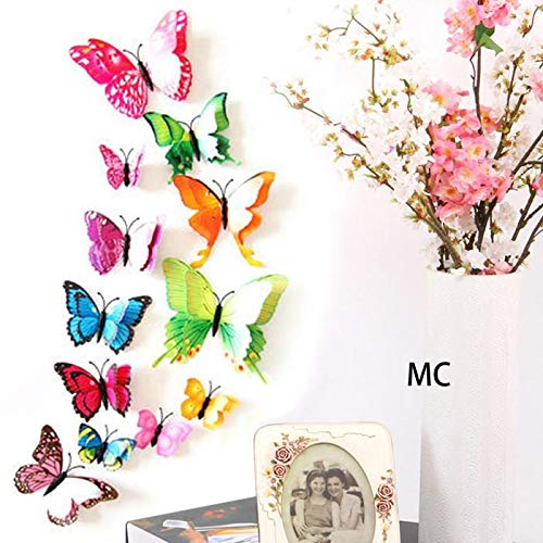 Yirind 12PCS Butterfly Wall Decor for Wall-3D Butterflies Wall Stickers Removable Mural Decals Home Decoration Kids Room Bedroom Decor (9Colors) by Yirind (Image #2)