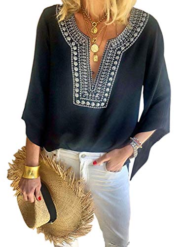 Chase Secret Womens V Neck Boho Embroidered Shirt 3 4 Sleeve Summer Tops Casual Blouses M Black