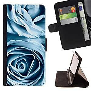 KingStore / Leather Etui en cuir / Samsung Galaxy S4 Mini i9190 / Rosas azules