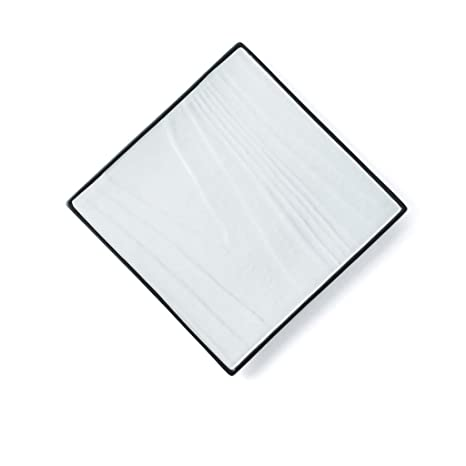 Tray Flat Plate Ceramic Large Tea Tray Optional Square JSSFQK color : Black Black And White