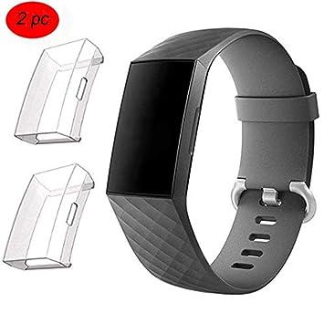 Fentace pour Fitbit Charge 3 Protection décran, 2 pièces Antichoc en Silicone Anti-Rayures avec étui de Protection Accessoire