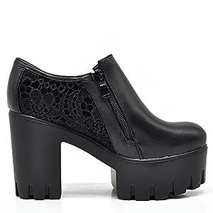 If Fashion Scarpe Donna Ecopelle Zeppa Carro Armato Platform Tronchetti Pizzo Merletto B98