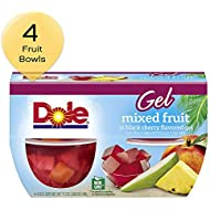 DOLE FRUIT BOWLS, Mixed Fruit in Black Cherry Flavored Gel, 4.3 Ounce (4 Cups)