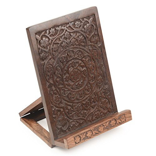 Style My Way Handcarved Sheesham Wood Foldable Book Stand iPad Holder