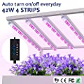 Grow lights 42W LED Plant Light Strips, MIXC 2019 Upgraded Version Growing Lamp with Timer 24 hours Cycling 5 Dimmable Levels Red/Yellow Full Spectrum for Plants Succulent Seedling with Gifts [4-Pack]