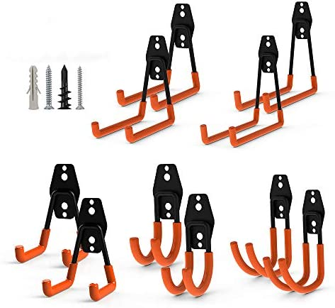 Chong Steel Garage Hooks&Hangers|10-Pack Garage Storage Double Hooks Wall Hooks | Multisize Heavy Duty Wall Mount Garage Organizer |Tool Holder Tool Storage forLadders/Bicycles (10 Pack Orange)