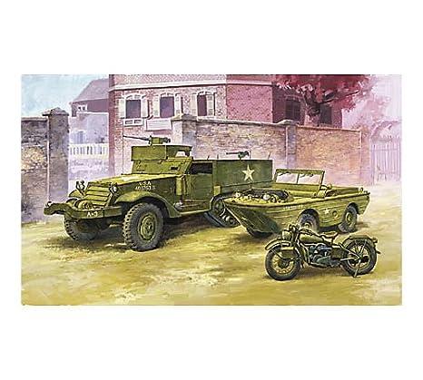 アカデミー 1/72 グランドビークルシリーズ6 アメリカ軍 M3 ハーフトラック & 1/4t アンフィビアンビークル プラモデル