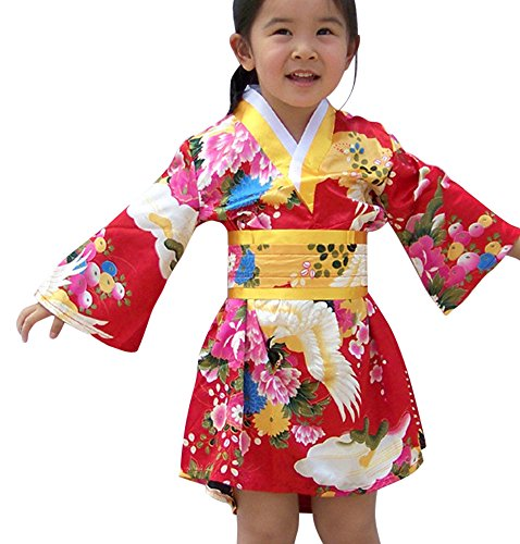 FANCYKIDS Japanese Girls Toddler Baby Kimono Robe Dress Outfit Costume (6 to 12 Months, Red)]()