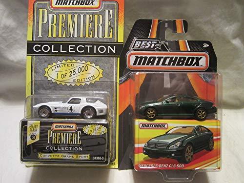 Best of Matchbox Mercedes-Benz CLS 500 & Premiere Collection Series 3 Corvette Grand Sport Die Cast 1/64 Scale 2 Car Bundle!