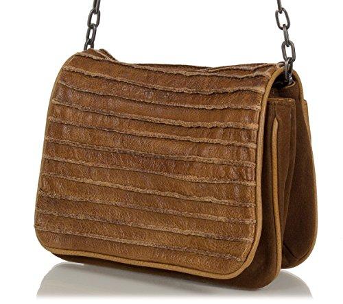 FREDsBRUDER bolso de bandolera 'corazón' en piel de vaca encerado mezcla de gamuza (23 x 18 x 7 cm), Farben:Braun (Dark Camel)