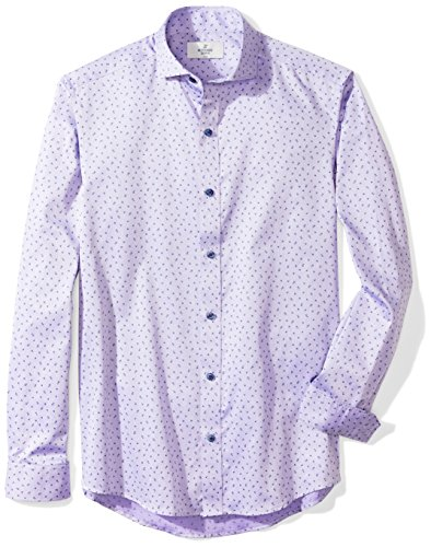 (BUTTONED DOWN Men's Fitted Supima Cotton Cutaway-Collar Dress Casual Shirt, Purple/Navy Floral, M 34/35 )
