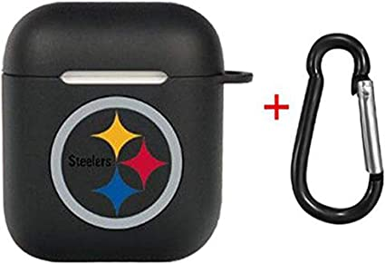 Seahawks AirPods Accessories Case Cover Compatible for Airpods Wirelss Charging Case Black Cute Airpods 2 and 1 Silicone Protective Case Dust Guard Shockproof Cover Skin with Carabiner