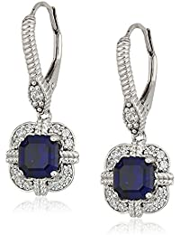 Platinum Plated Sterling Silver Created Sapphire Asscher Cut Vintage Style Earrings