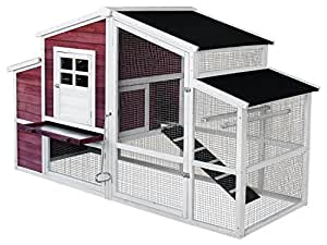 Merax 79-Inch Large Wooden House Wooden Cage for Small Animals Hen Croop Nesting box (Chicken Coop#3)