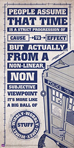 Culturenik Doctor Who Wibbly Wobbly Timey Wimey Quote Tardis Gray Illustration Sci Fi British TV Television Show Print (Unframed 12x24 Poster)