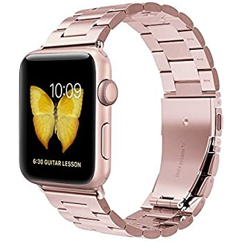 Apple Watch Band, Evershop iWatch Band 42mm Rose Gold Stainless Steel Replacement Watch Band with Durable Metal Clasp for Apple Watch Series 1 Series 2 (Stainless Steel Strap-42mm Rose Gold)