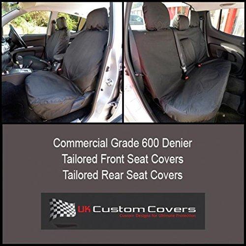 UK Custom Covers SC151B-SC152B Tailored Heavy Duty Waterproof Front & Rear Seat Covers - Black