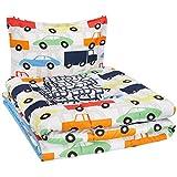 AmazonBasics Cama en una bolsa, microfibra suave y fácil de lavar, infantil, individual, coches de carreras multicolor