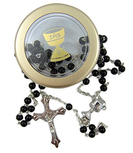 First Communion Black Rosary Necklace in IHS Chalice Rosary Case, 24 Inch
