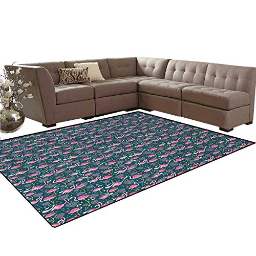 Flamingos,Floor Mat,Exotic Bird Pattern with Flowers Hearts and Raindrops Tropical,Living Dining Room Bedroom Hallway Office Carpet,Pink Dark Green Pale ()