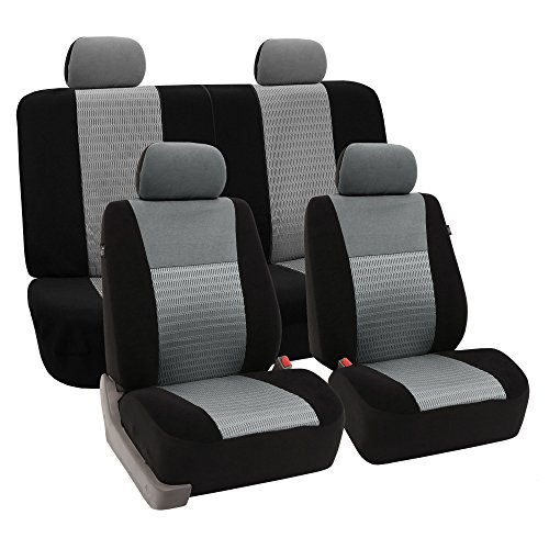 FH GROUP FH-FB060114 Trendy Elegance Full Set Seat Covers, Airbag compatible and Split Bench, Gray/Black color- Fit Most Car, Truck, Suv, or Van