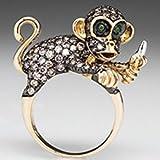 Yupha 2.08ct 925 Silver Women Animal Monkey Emerald Wedding Engagement Ring Size 6-10 (10)
