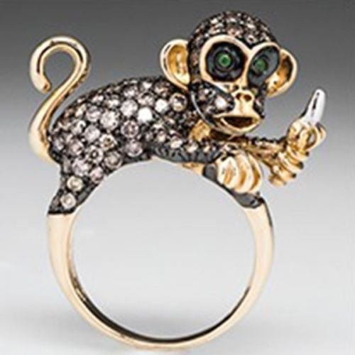 Yupha 2.08ct 925 Silver Women Animal Monkey Emerald Wedding Engagement Ring Size 6-10 (10)