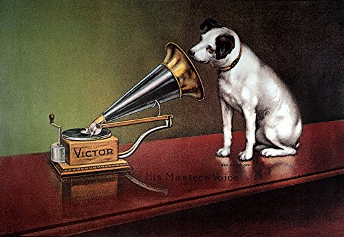 Rca Victor Trademark NHis MasterS Voice Trademark Image Of Rca Victor Featuring Nipper The Dog American Lithograph Poster C1920 Poster Print by (18 x 24)