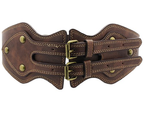 [BONAMART ®Women Stretch Corset Wide Waist Belt Waistband Studded with Rivet] (Brown Leather Corset)