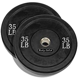 35 LB Solid Rubber Weight Plates Black Pair