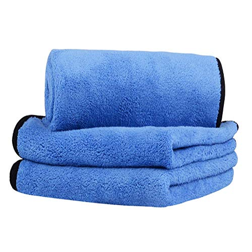 MOIKEW Professional Microfiber Cleaning Cloth Double Thickening Microfiber Towels for Cars, Blue and Gray (12x16in) (Pack of 3)