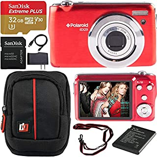 Polaroid iEX29 18MP 10x Optical Zoom Compact Digital Camera (Red) with 720p HD Video Movie Recording Bundle with Deco Gear Camera Bag Case + SanDisk 32GB Extreme Plus MicroSDHC Memory Card w/Adapter