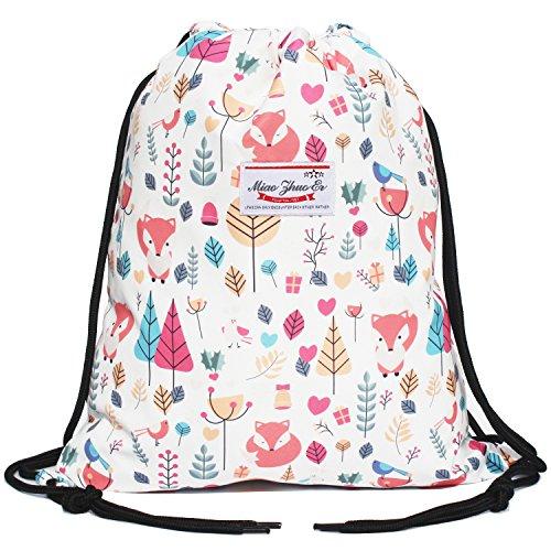 Alpaca Go Drawstring Bag Water Resistant Floral Leaf Lightweight Gym Sackpack for Hiking Yoga Gym Swimming Travel Beach (Y - Fox) -