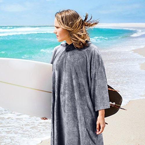 Catalonia Hooded Surf Poncho,Water Absorbent Wetsuit Changing Robe,Adults Sleeved Sand Proof BeachTowel for Watersports Surfing Swimming Bathing Grey