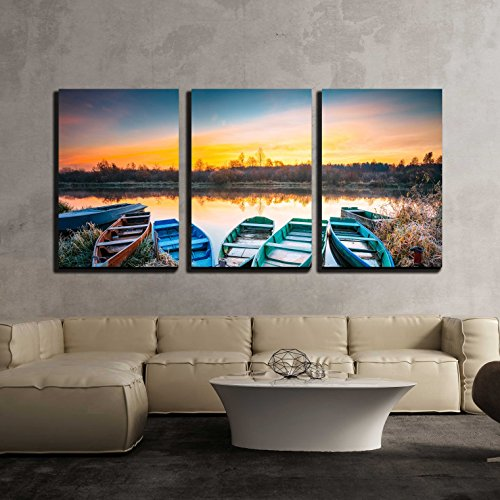"wall26 - 3 Piece Canvas Wall Art - Lake, River and Rowing Fishing Boat at Beautiful Sunrise in Autumn Morning - Modern Home Decor Stretched and Framed Ready to Hang - 16""x24""x3 Panels"