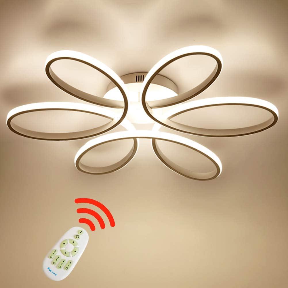 Lámpara de techo LED de 75 vatios Forma de flor creativa Lámpara de techo Pantalla de aluminio acrílico moderna y elegante, blanca mate Luz de techo Dormitorio L59cm * H11cm, Regulable 3000~6000 K